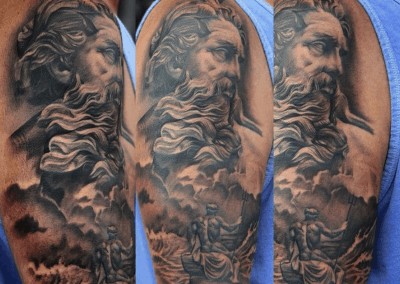 zeus, ocean, boat tattoo