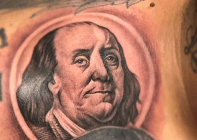 Ben Franklin headshot tattoo
