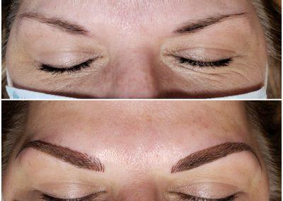 lady with dark tattooed eyebrows