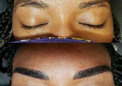 negro eyebrow tattooed