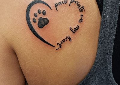 heart and paw print tattoo