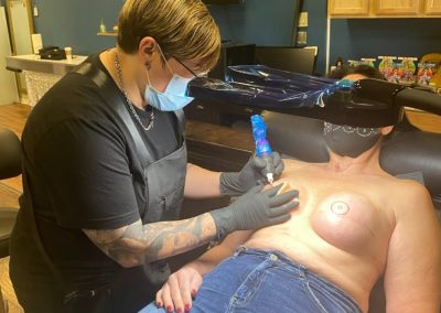 right breast 3D areola being tattooed